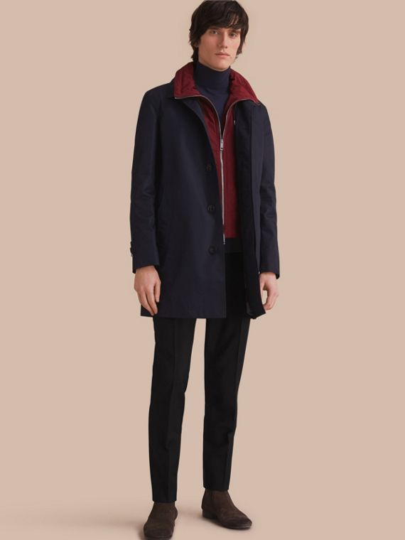 Lightweight Cotton Car Coat with Detachable Gilet Navy