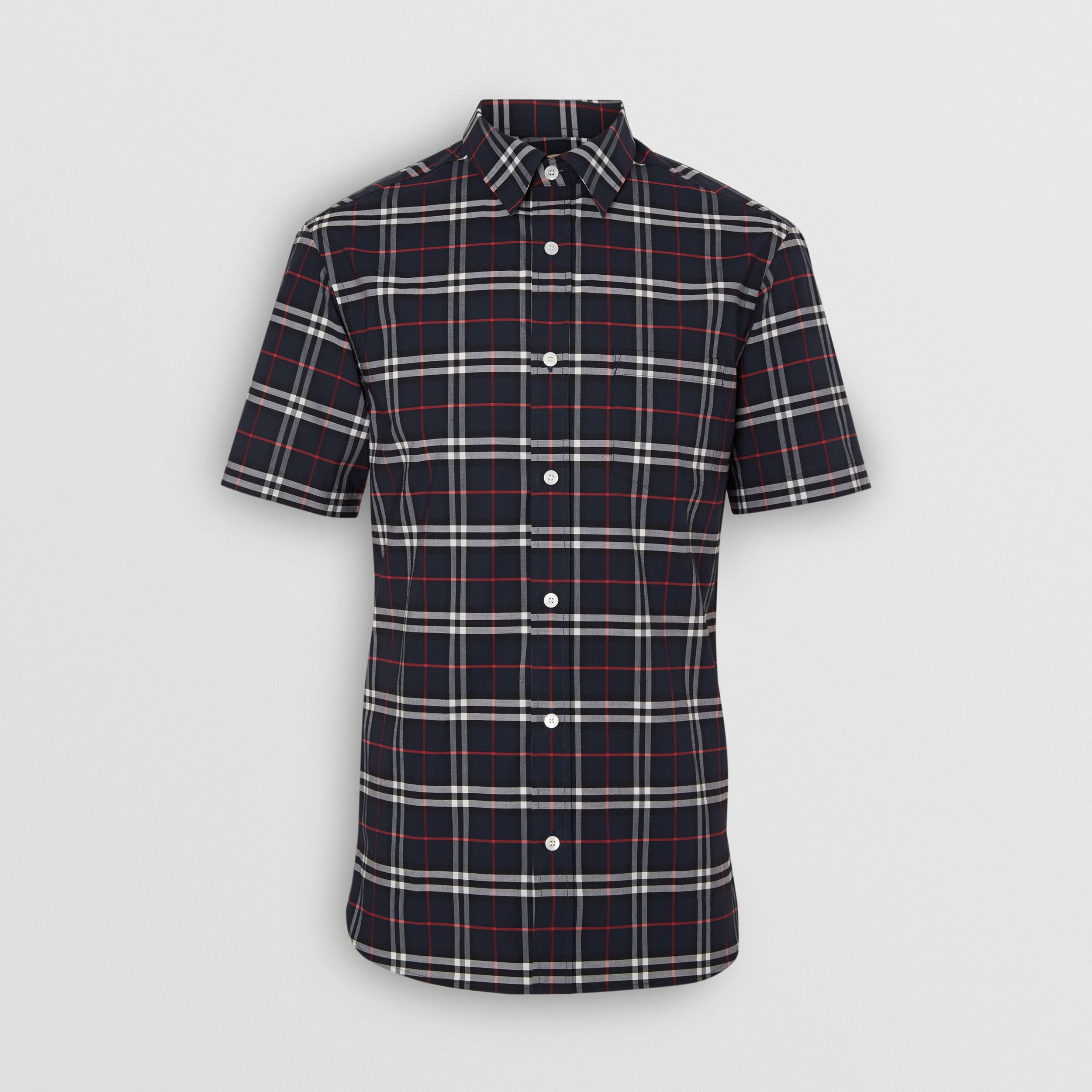 Short-sleeve Check Stretch Cotton Shirt in Navy - Men | Burberry - 4