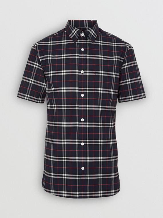 쇼트 슬리브 체크 스트레치 코튼 셔츠 (네이비)