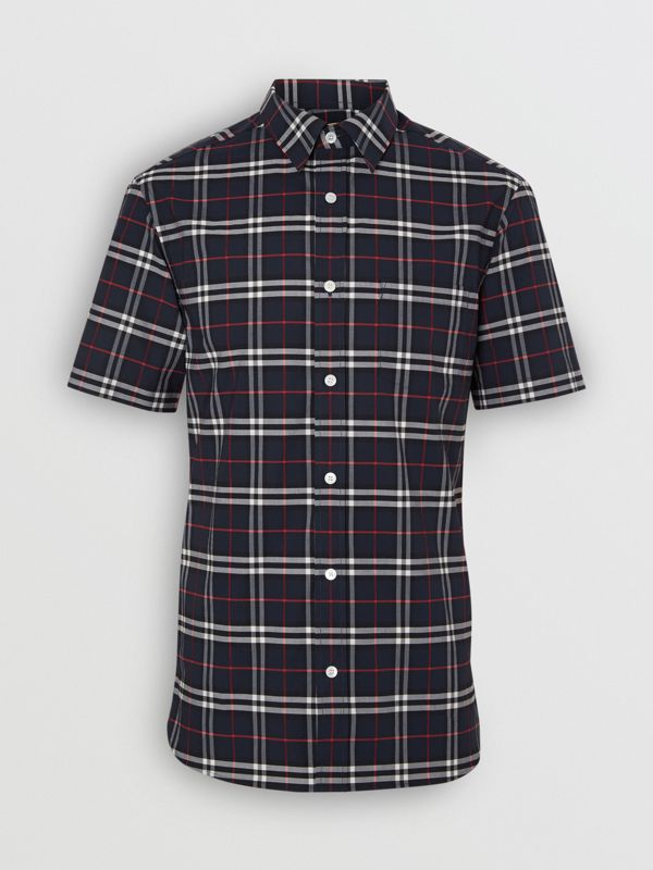 Short-sleeve Check Stretch Cotton Shirt in Navy - Men | Burberry - cell image 3