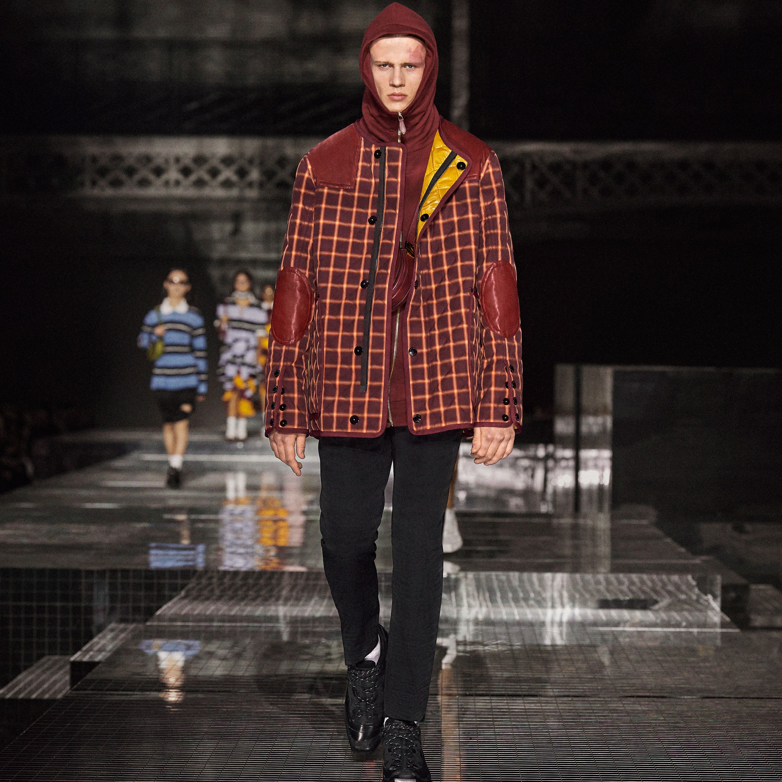 Lambskin Trim Check Technical Cotton Barn Jacket in Burgundy | Burberry - 3