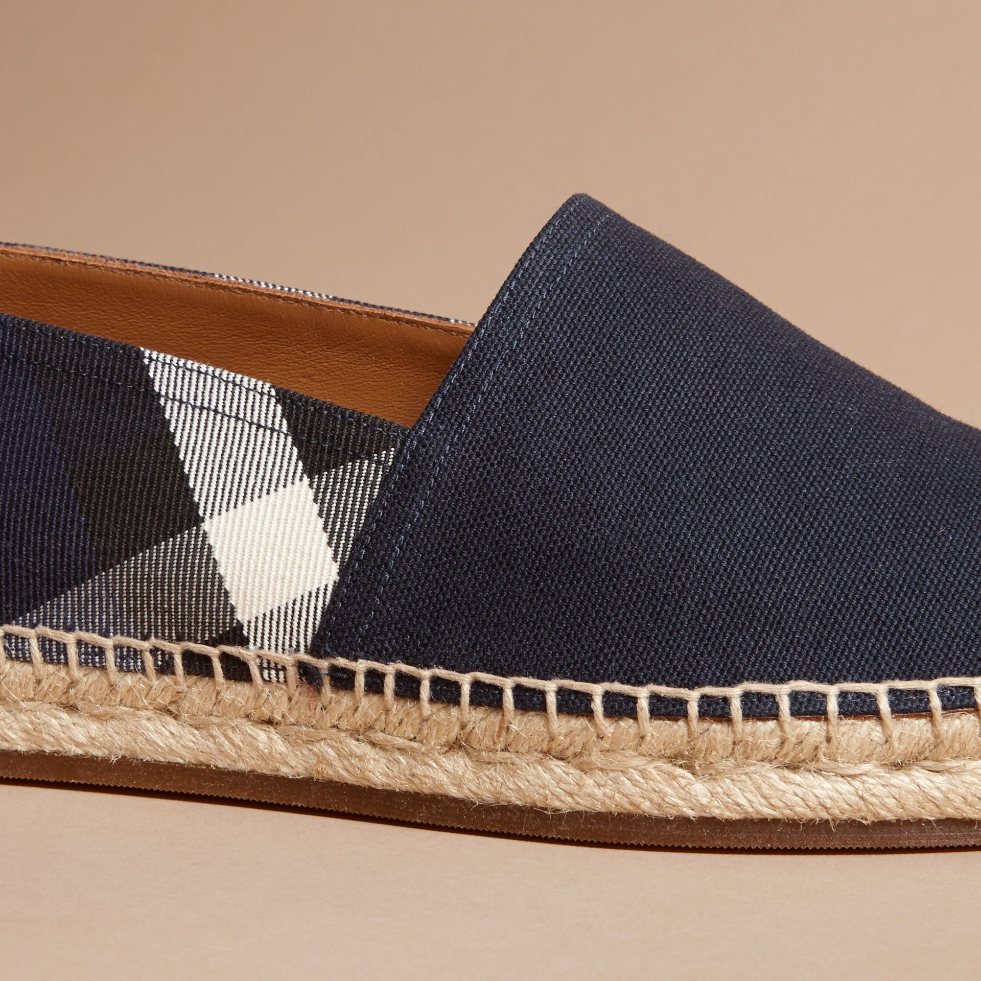 Overdyed House Check and Cotton Canvas Espadrilles in Indigo Blue - Men | Burberry Canada - gallery image 2