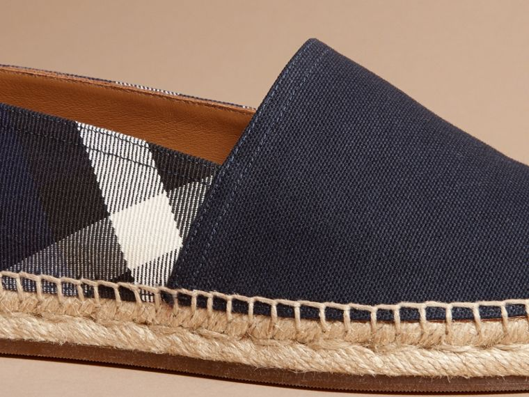 Overdyed House Check and Cotton Canvas Espadrilles in Indigo Blue - Men | Burberry - cell image 1