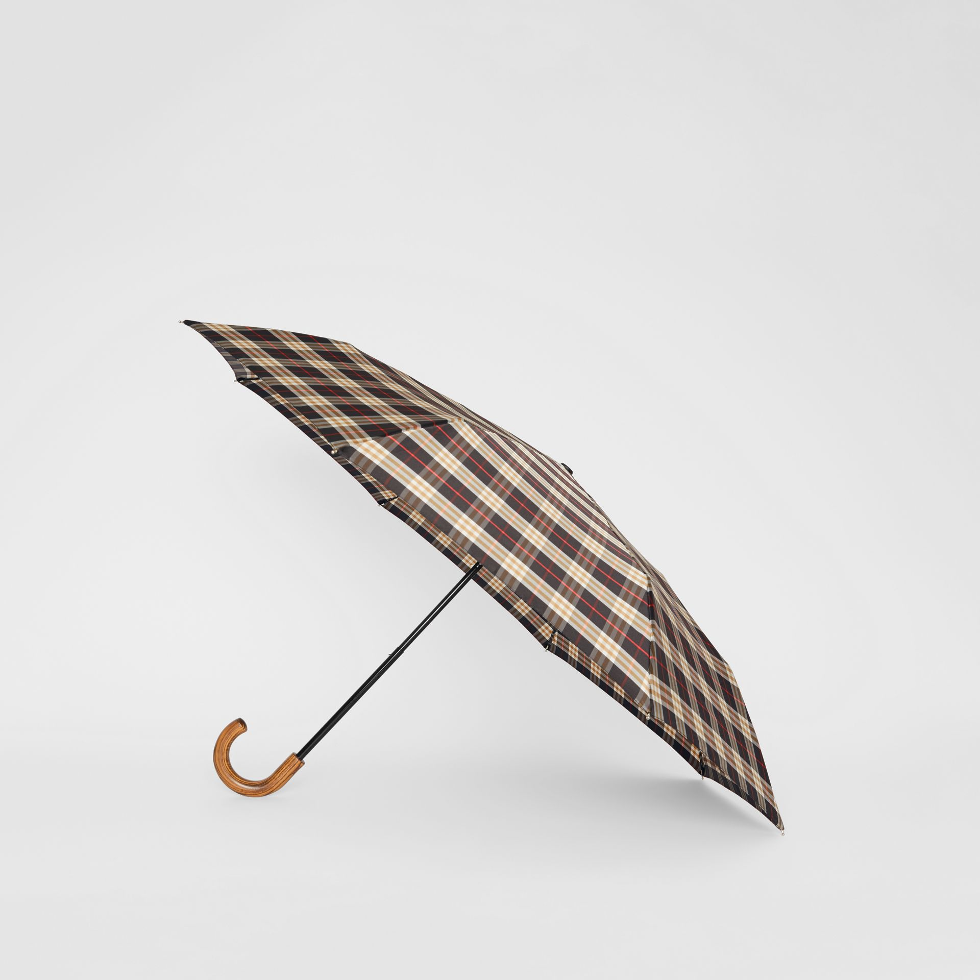 Check Print Folding Umbrella in Black | Burberry - gallery image 2