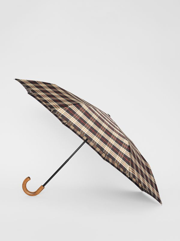 Check Print Folding Umbrella in Black | Burberry - cell image 2