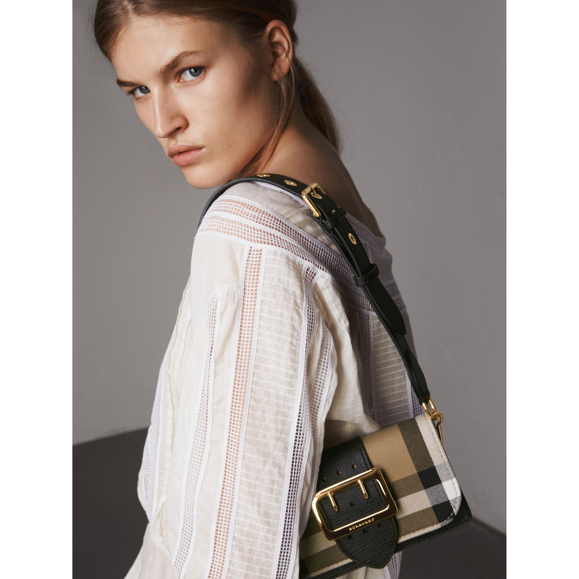 The Small Buckle Bag in House Check and Leather in Black - Women | Burberry - gallery image 7