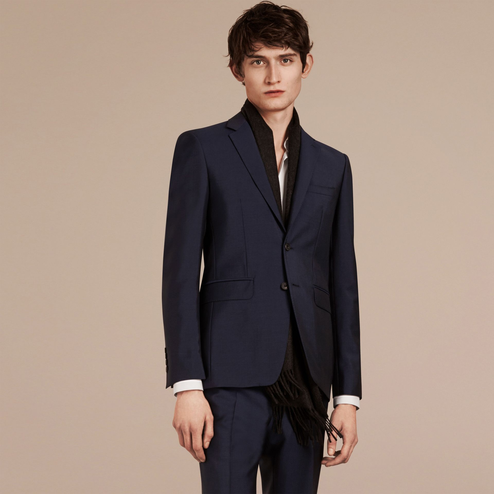 Slim Fit Wool Mohair Part-canvas Suit in Royal Navy - Men | Burberry - gallery image 3