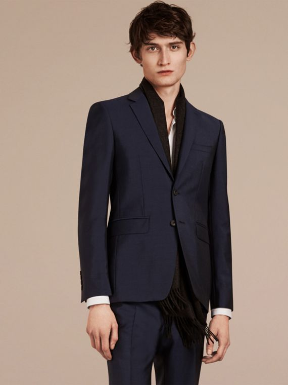 Slim Fit Wool Mohair Part-canvas Suit in Royal Navy - cell image 2