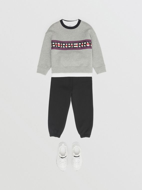 Sudadera en tejido jersey con estampado de logotipos (Mezcla  Gris)