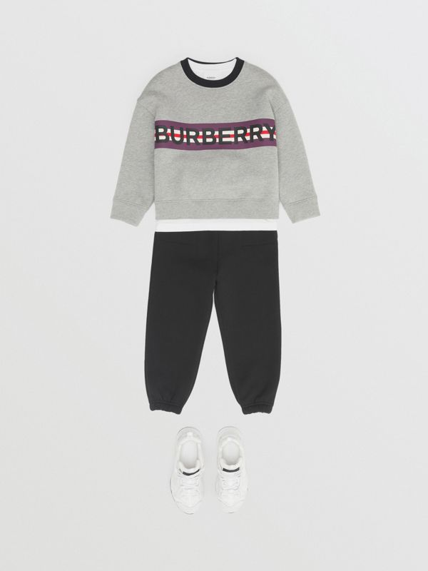 Logo Print Jersey Sweatshirt in Grey Melange | Burberry United Kingdom - cell image 3