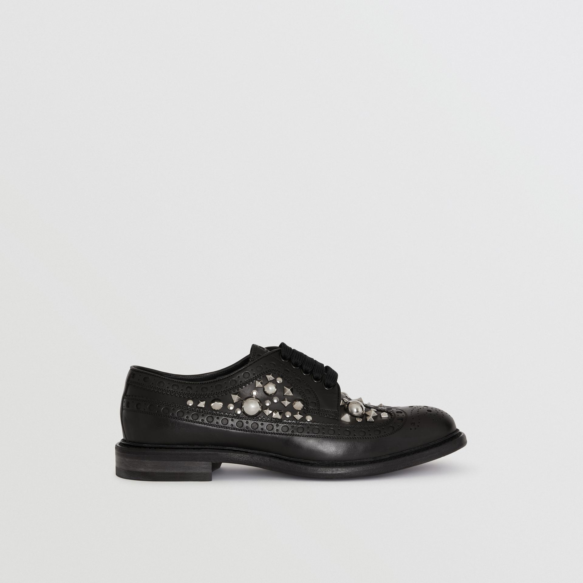 Stud Detail Leather Brogues in Black - Men | Burberry - gallery image 4