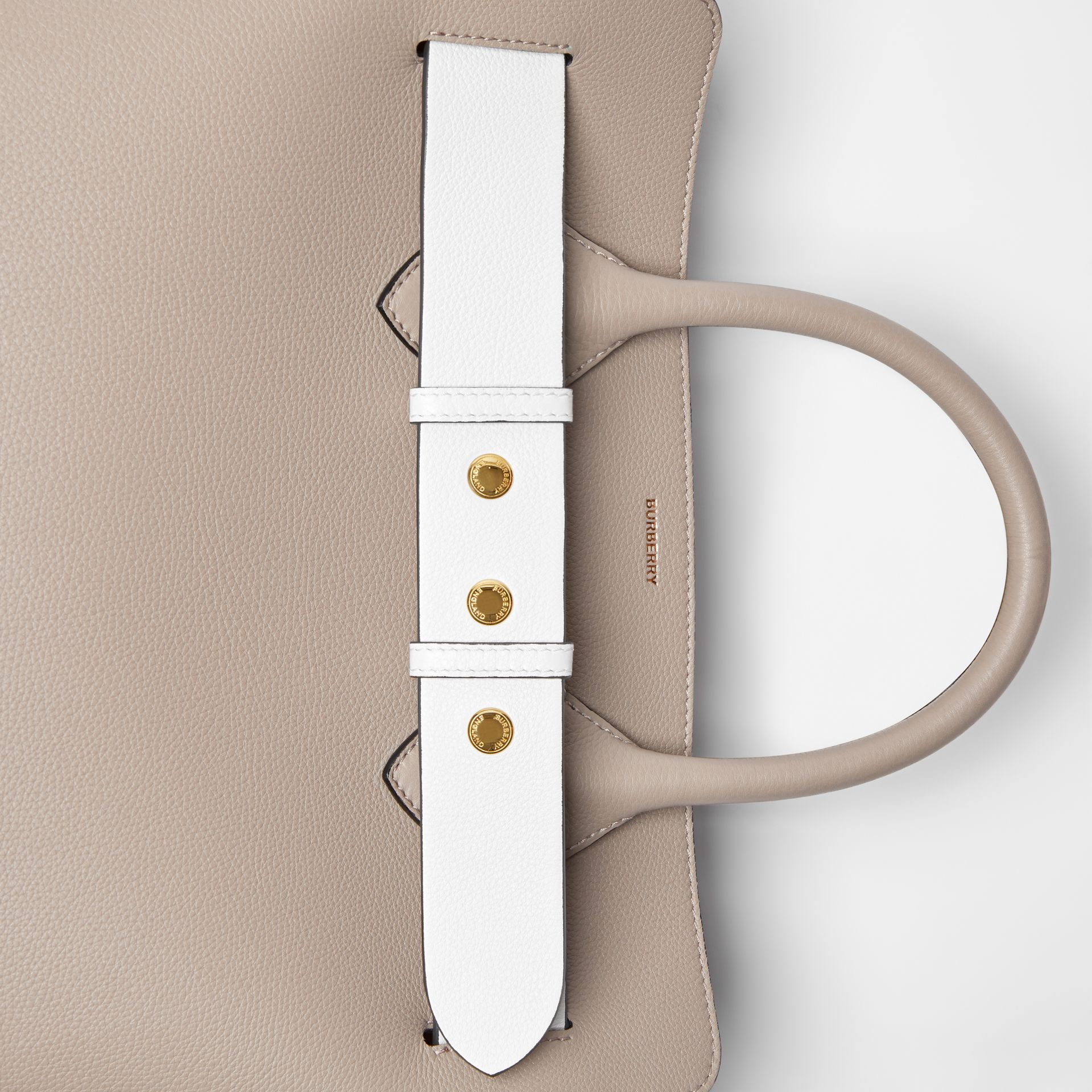 The Small Tri-tone Leather Triple Stud Belt Bag in Mineral Grey - Women | Burberry United Kingdom - gallery image 1