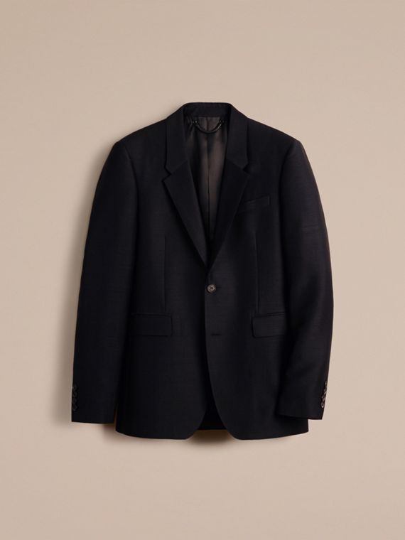 Pewter blue Slim Fit Stretch Mohair Wool Tailored Jacket - cell image 3