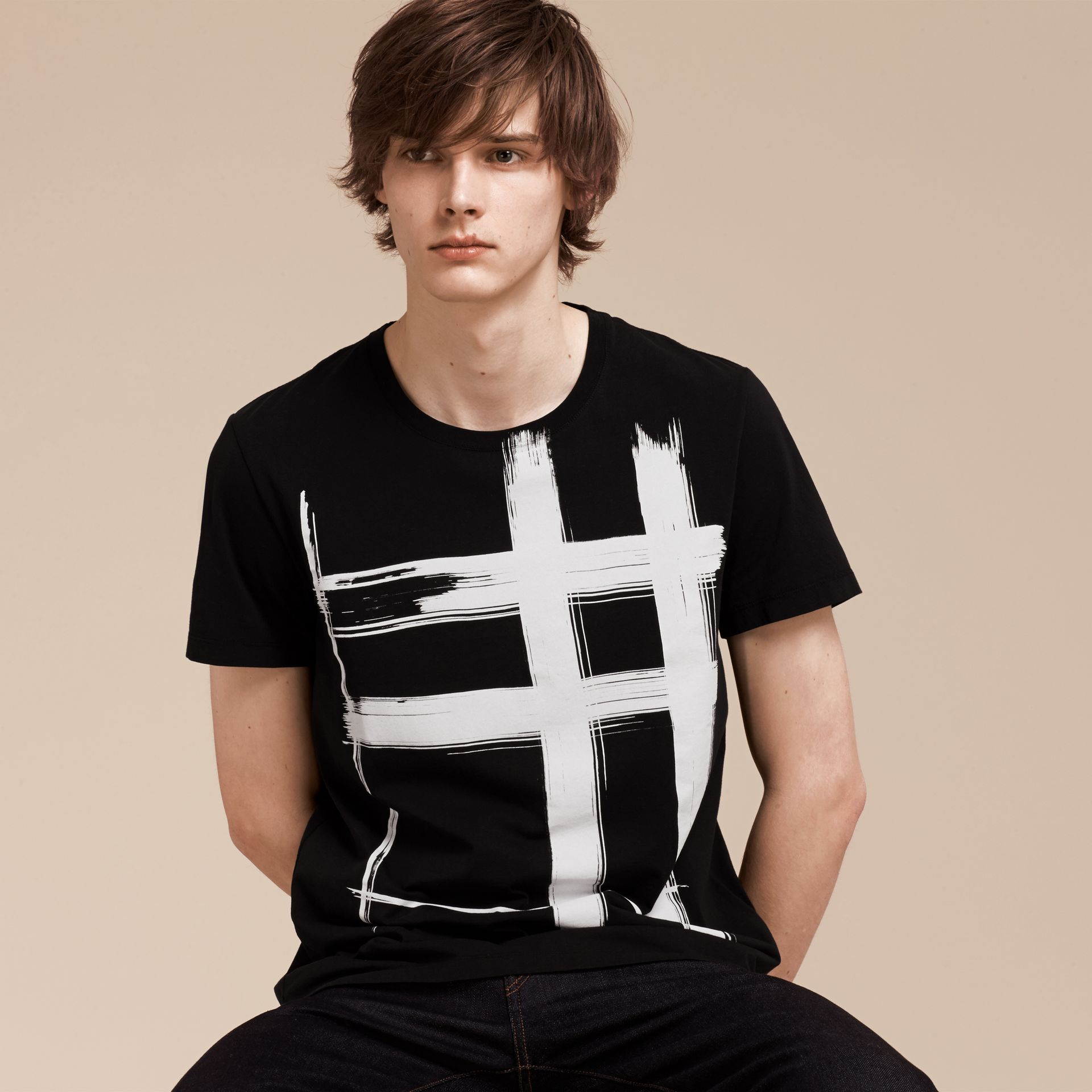 Black Brushstroke Check Print Cotton T-Shirt Black - gallery image 1