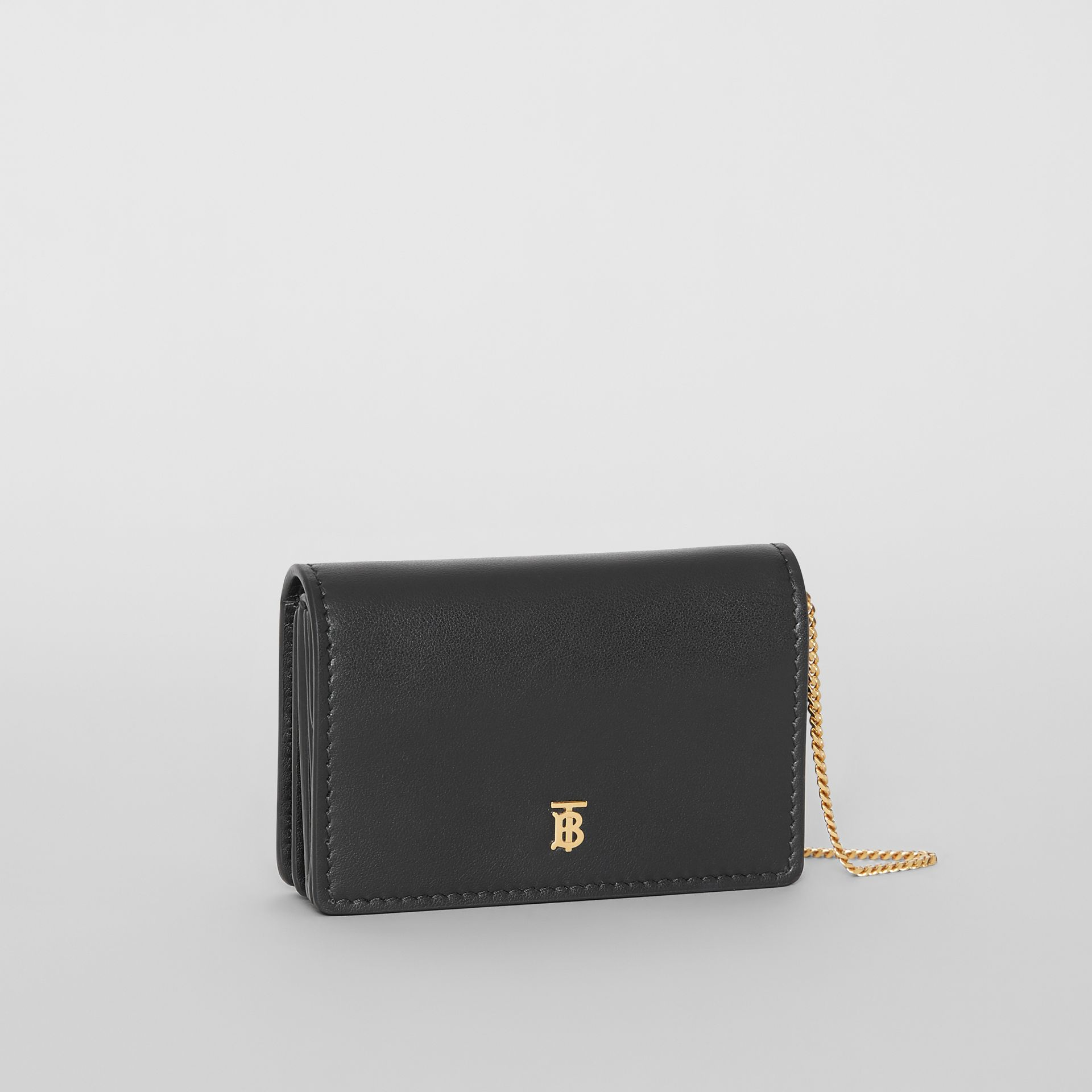 Leather Card Case with Detachable Strap in Black | Burberry - gallery image 6