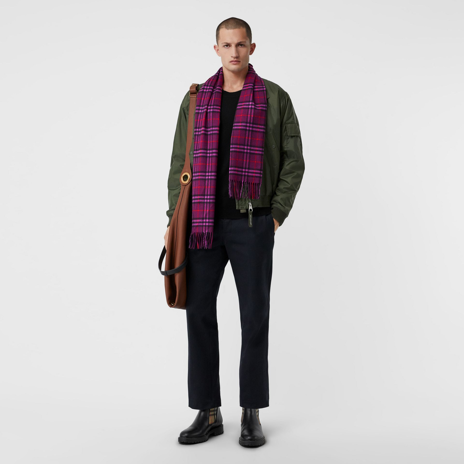 The Classic Vintage Check Cashmere Scarf in Dark Violet | Burberry United Kingdom - gallery image 3