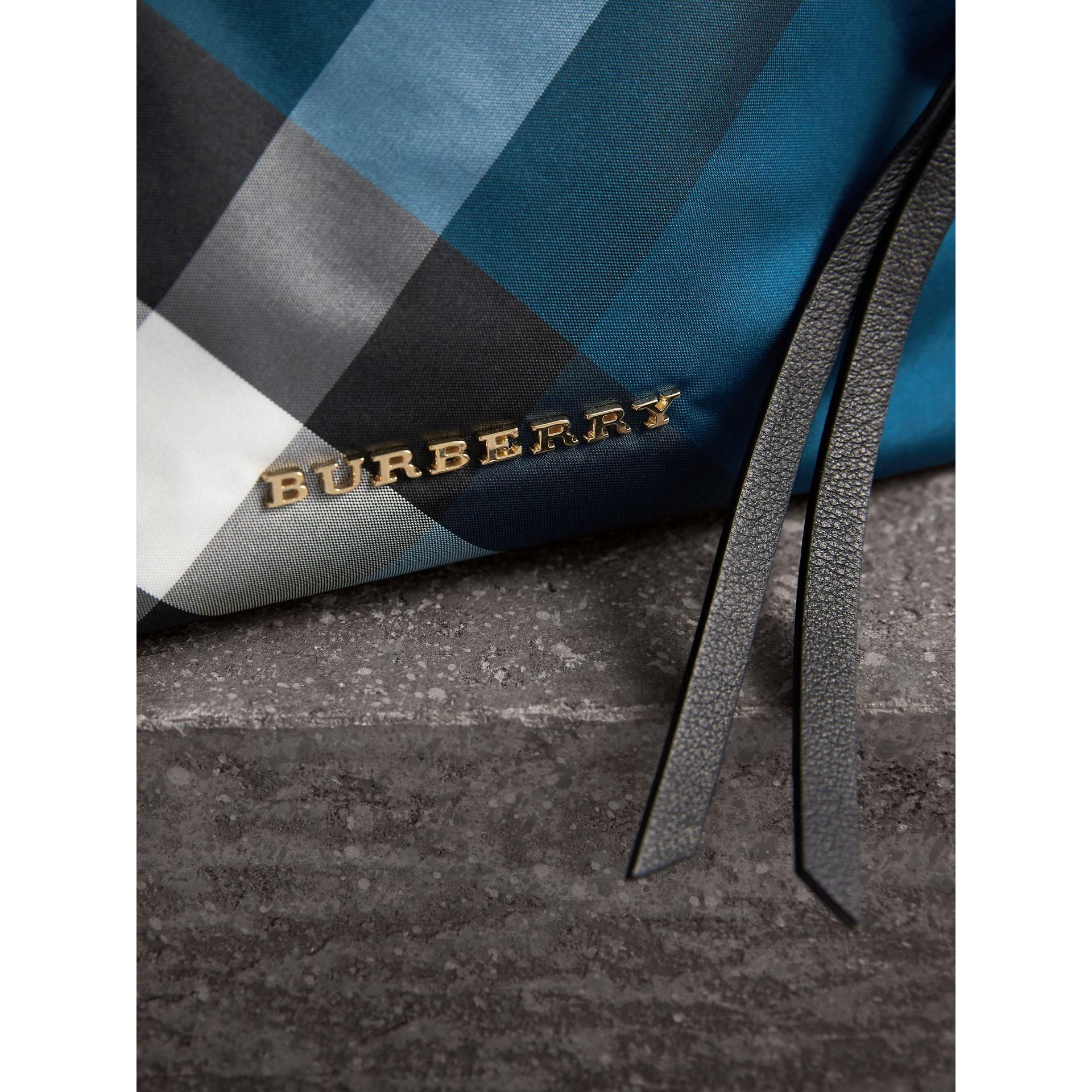 Medium Zip-top Check Technical Pouch in Marine Blue - Women | Burberry - gallery image 2