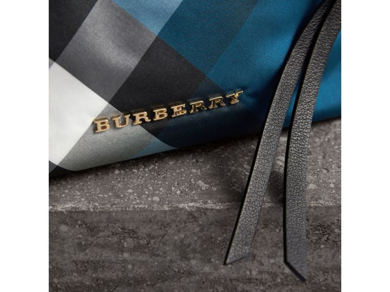 Medium Zip-top Check Technical Pouch in Marine Blue - Women | Burberry United Kingdom - cell image 1