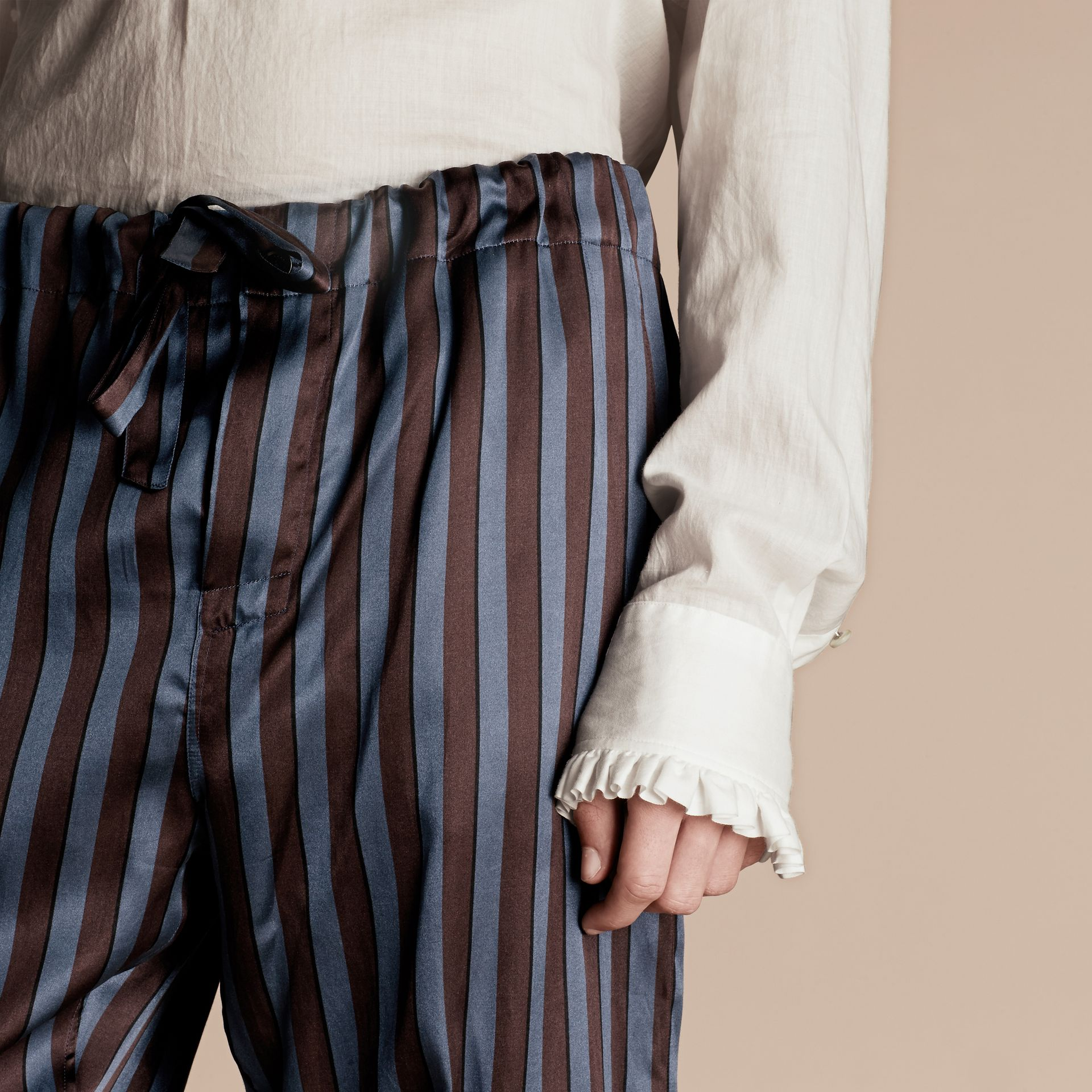 Navy Striped Silk Cotton Pyjama-style Trousers - gallery image 6