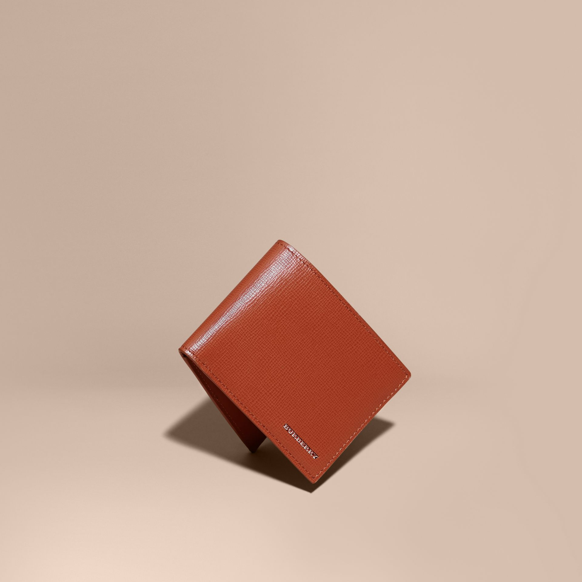 London Leather Slim Folding Wallet Burnt Sienna - gallery image 1