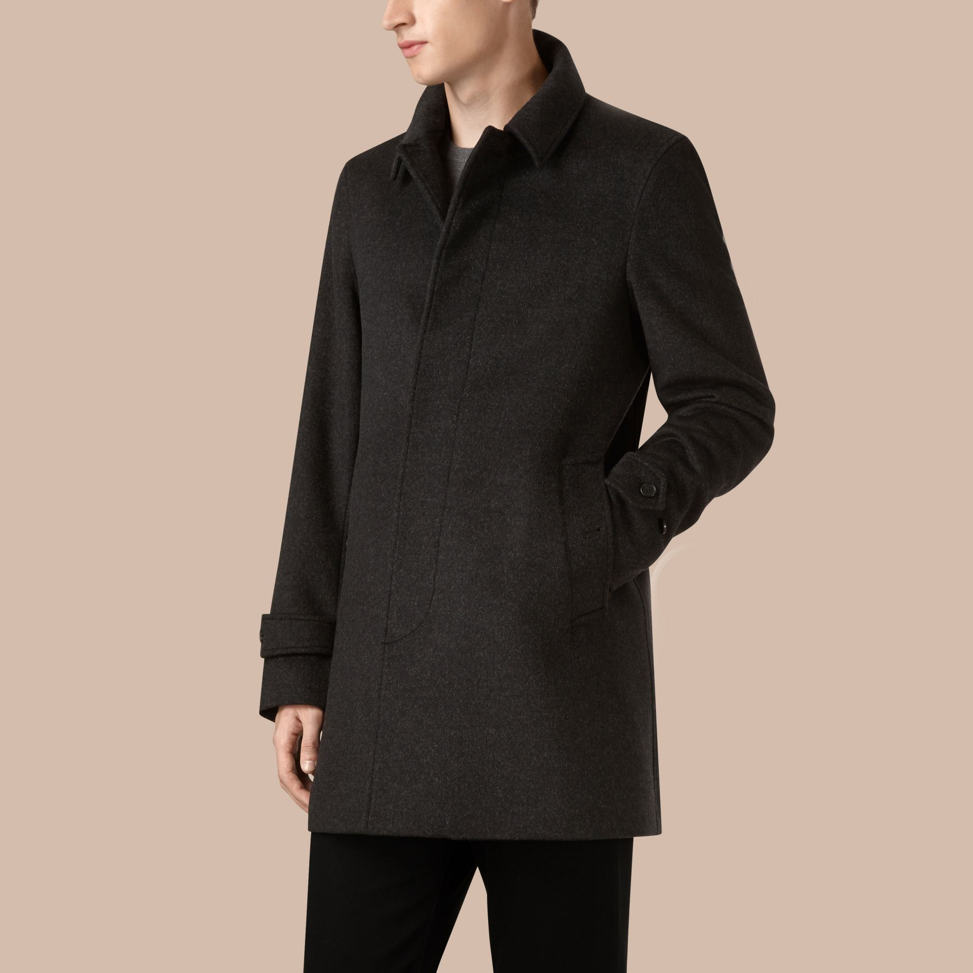 Dark grey melange Virgin Wool Cashmere Car Coat Dark Grey Melange - gallery image 4