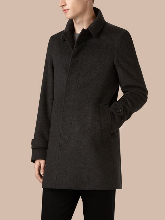 Dark grey melange Virgin Wool Cashmere Car Coat Dark Grey Melange - cell image 3