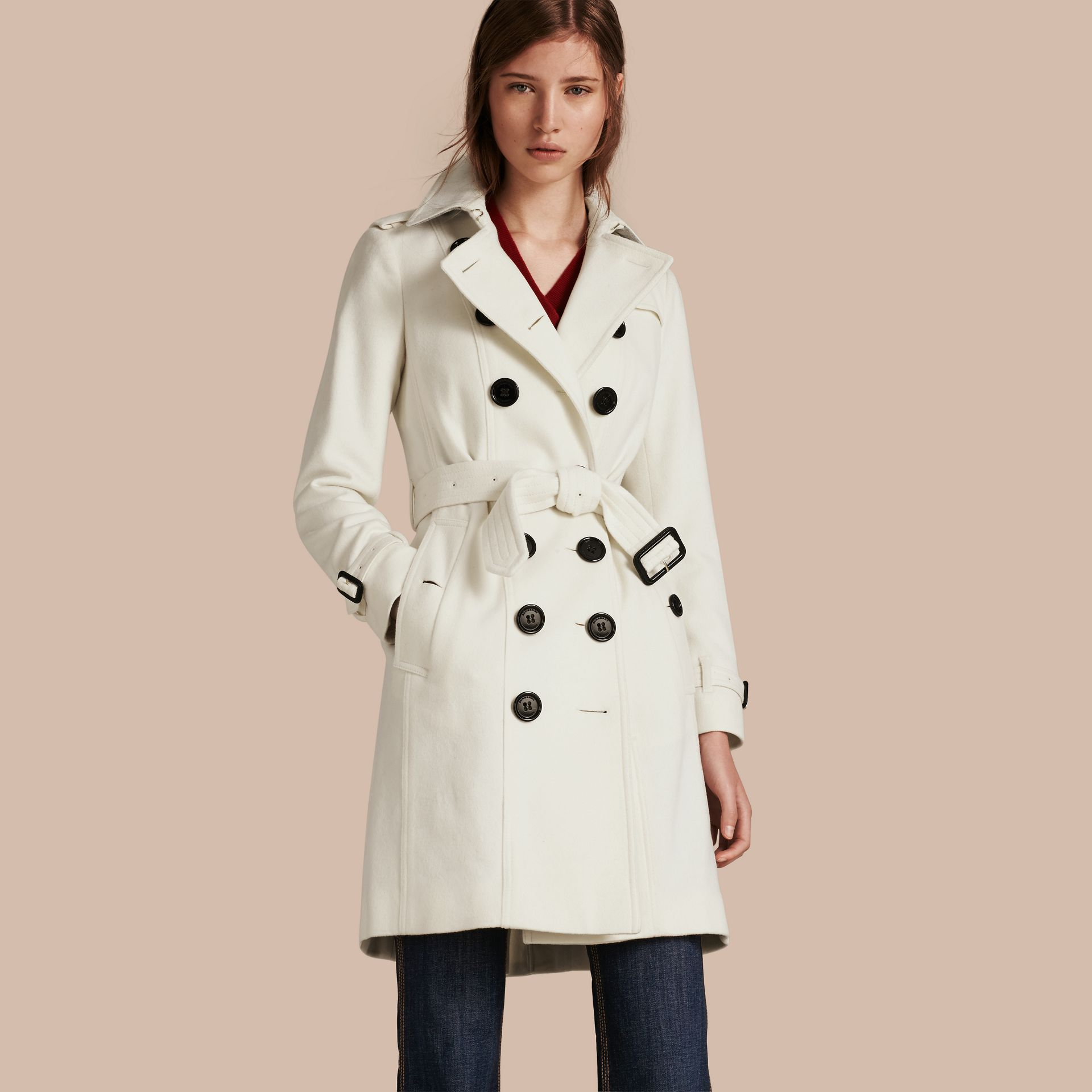 White Sandringham Fit Cashmere Trench Coat White - gallery image 1