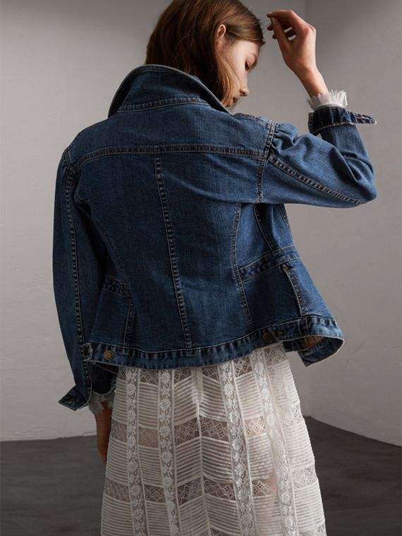 Puff-sleeve Denim Jacket - Women | Burberry - cell image 2