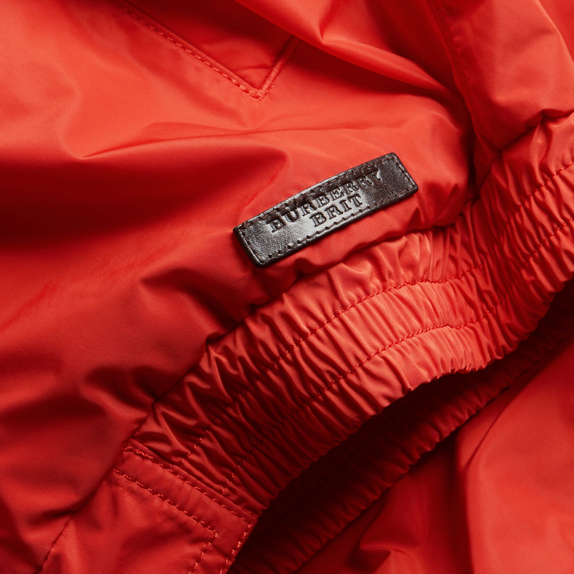 Orange red Showerproof Bomber Jacket - gallery image 2