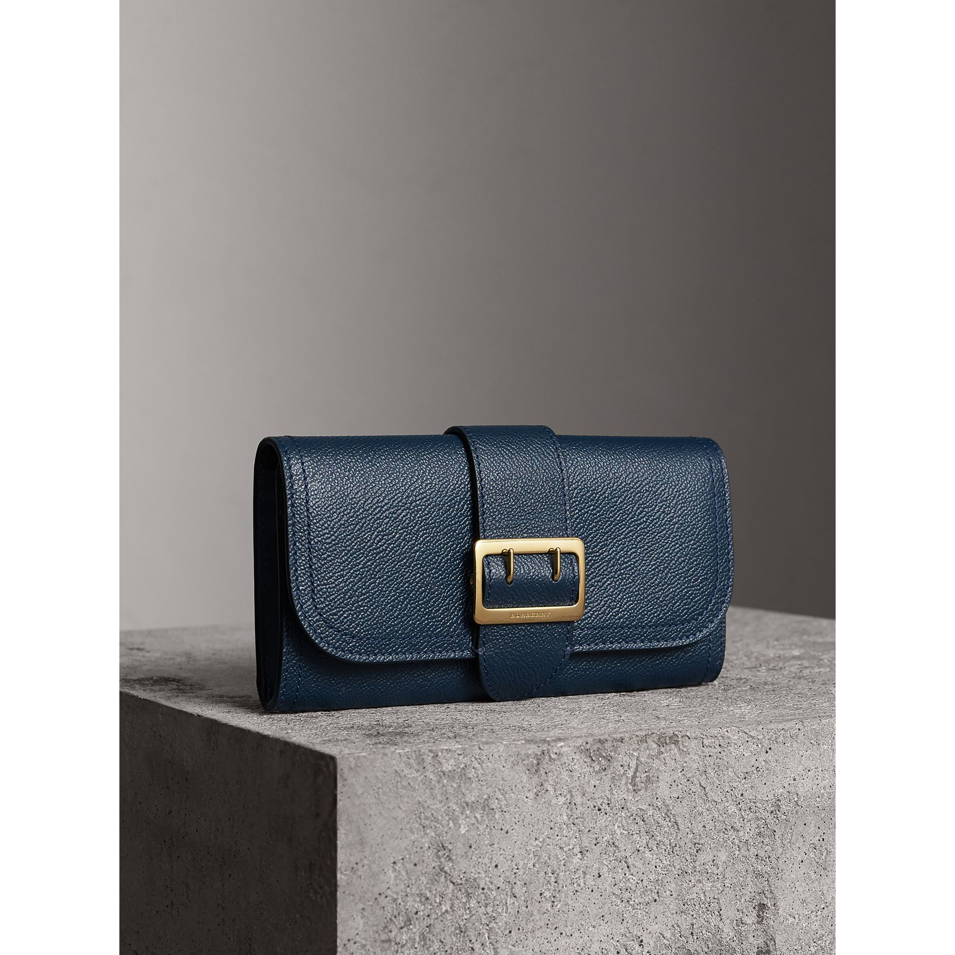 Textured Leather Continental Wallet in Blue Carbon - Women | Burberry - gallery image 1