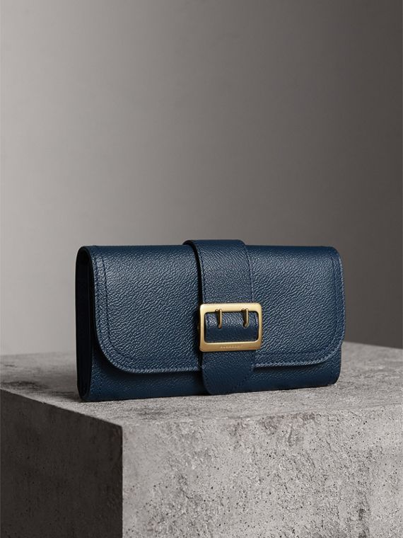 Textured Leather Continental Wallet in Blue Carbon