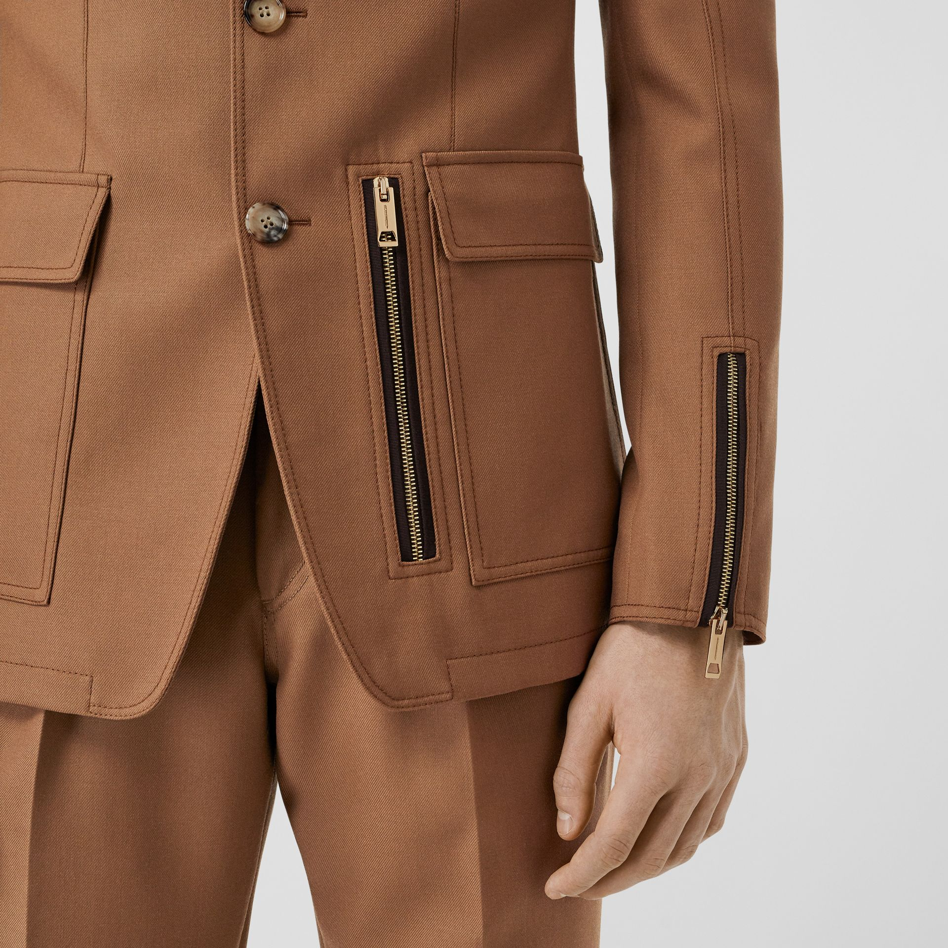 English Fit Zip Detail Wool Tailored Jacket in Dark Walnut - Men | Burberry United Kingdom - gallery image 4