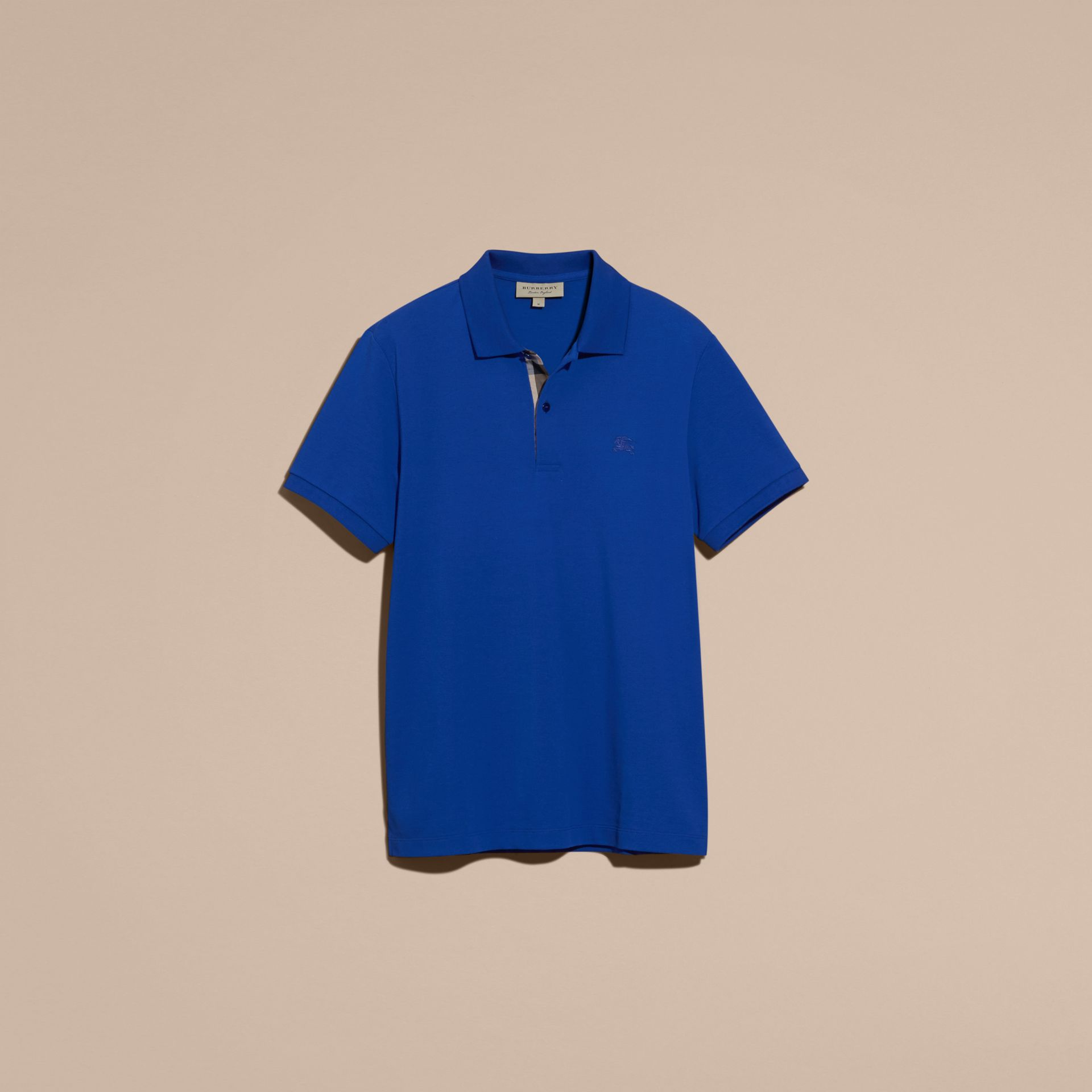 Check Placket Cotton Piqué Polo Shirt in Brilliant Blue - gallery image 4