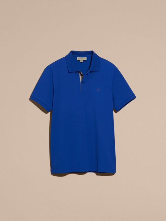 Check Placket Cotton Piqué Polo Shirt in Brilliant Blue - cell image 3