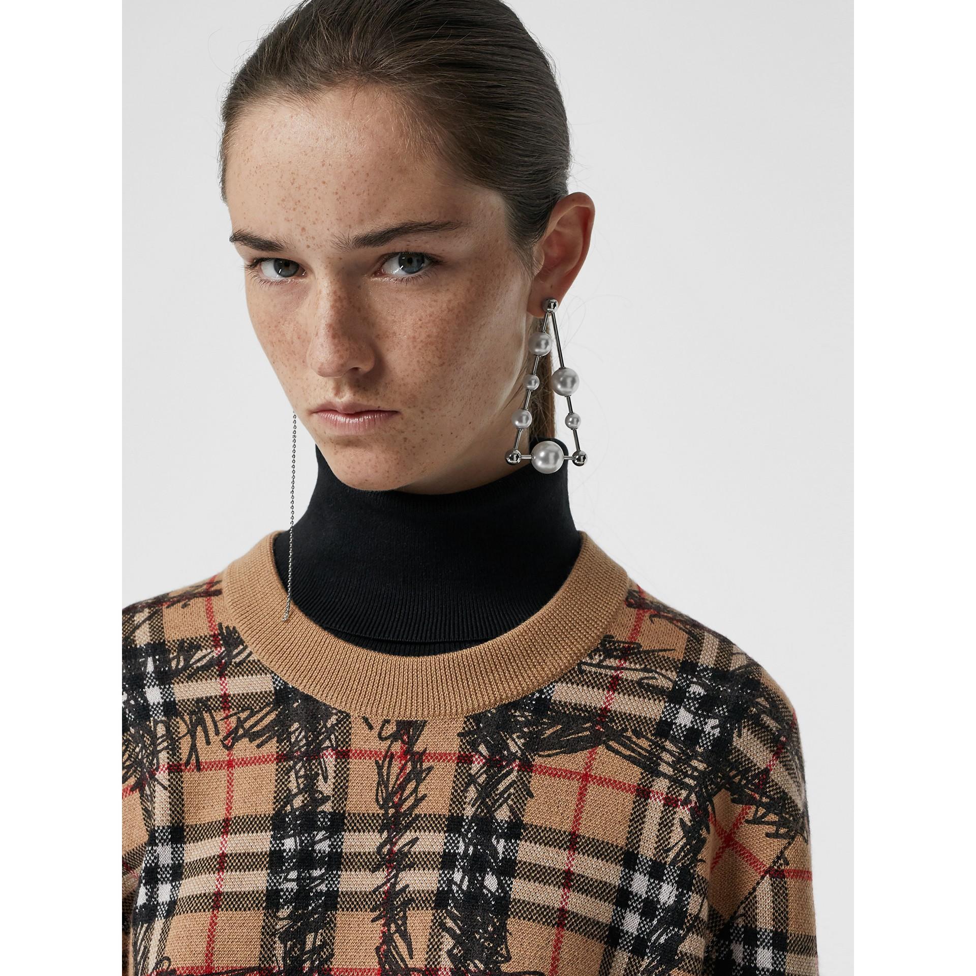 Scribble Check Merino Wool Sweater in Camel/black - Women | Burberry - gallery image 1