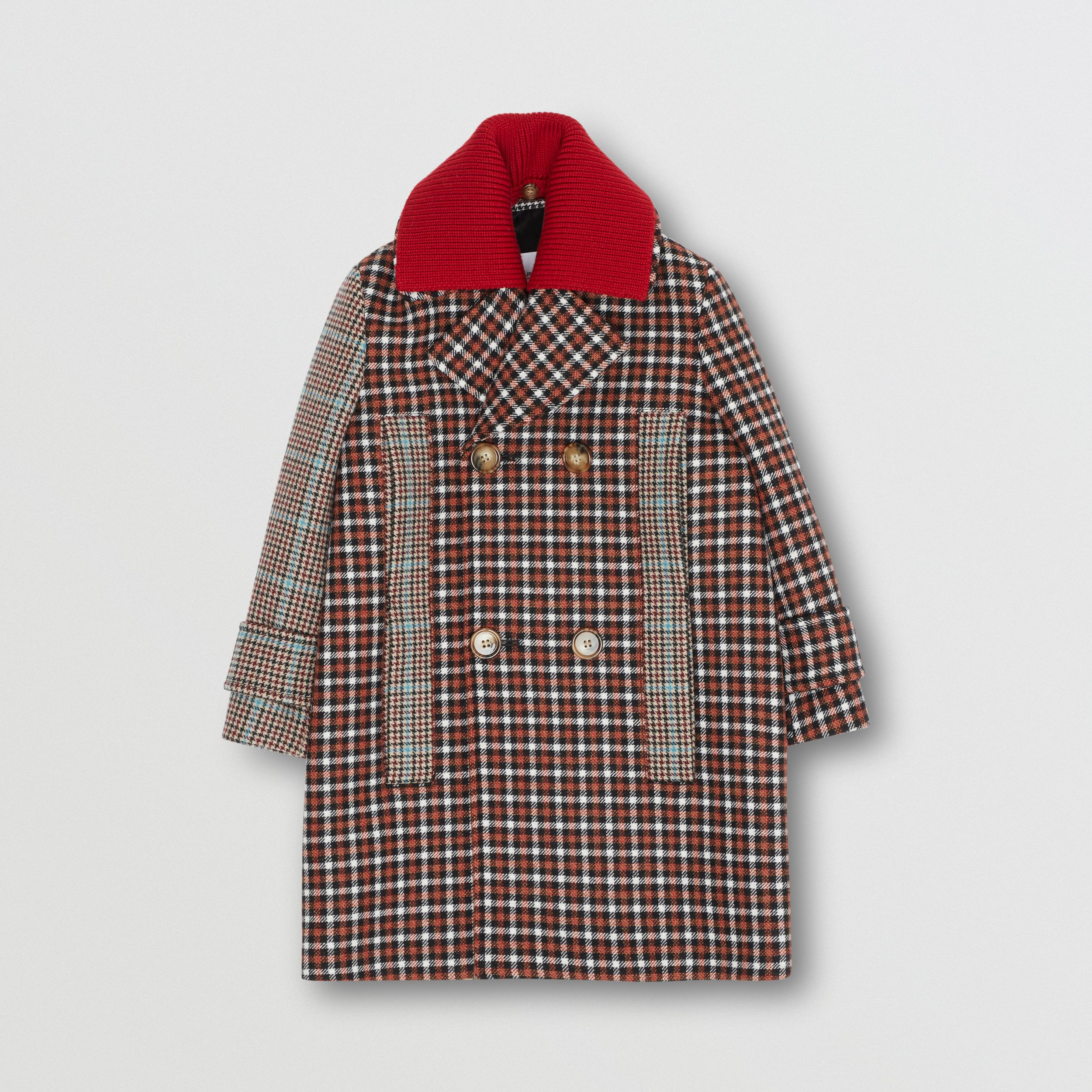 Detachable Collar Patchwork Check Wool Blend Coat in Vermilion Red | Burberry - 1