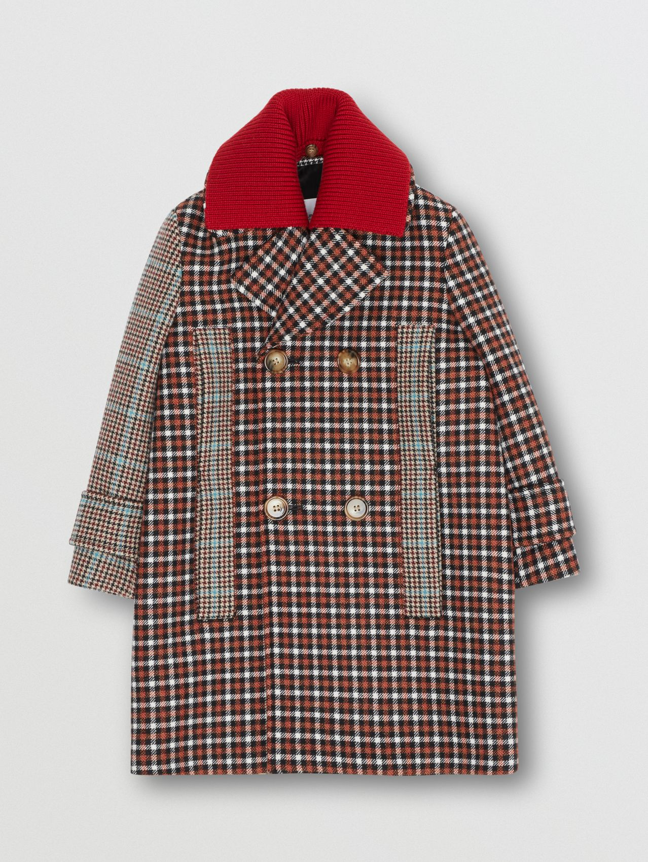 Detachable Collar Patchwork Check Wool Blend Coat in Vermilion Red
