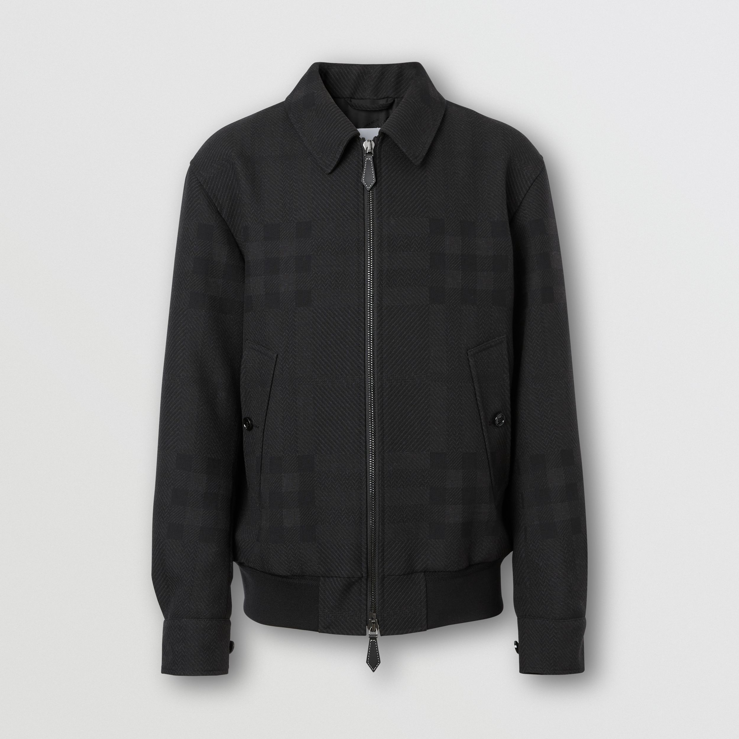 Check Wool Jacquard Harrington Jacket in Charcoal Black - Men | Burberry - 4