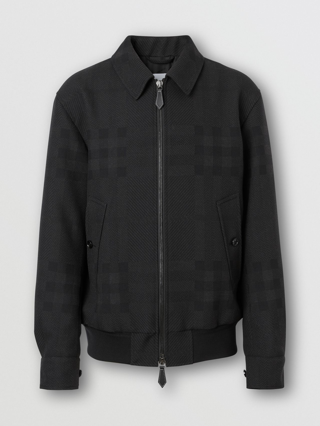 Check Wool Jacquard Harrington Jacket in Charcoal Black