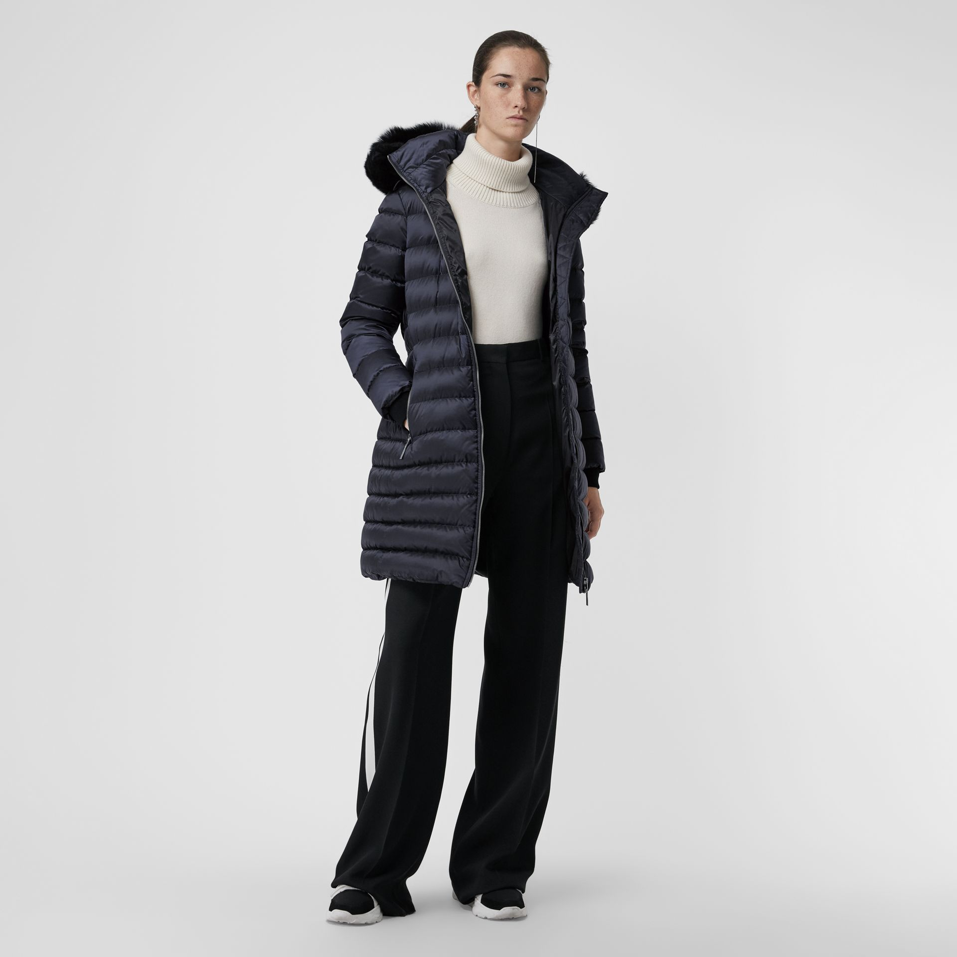 Detachable Shearling Trim Down-filled Puffer Coat in Navy - Women | Burberry - gallery image 5