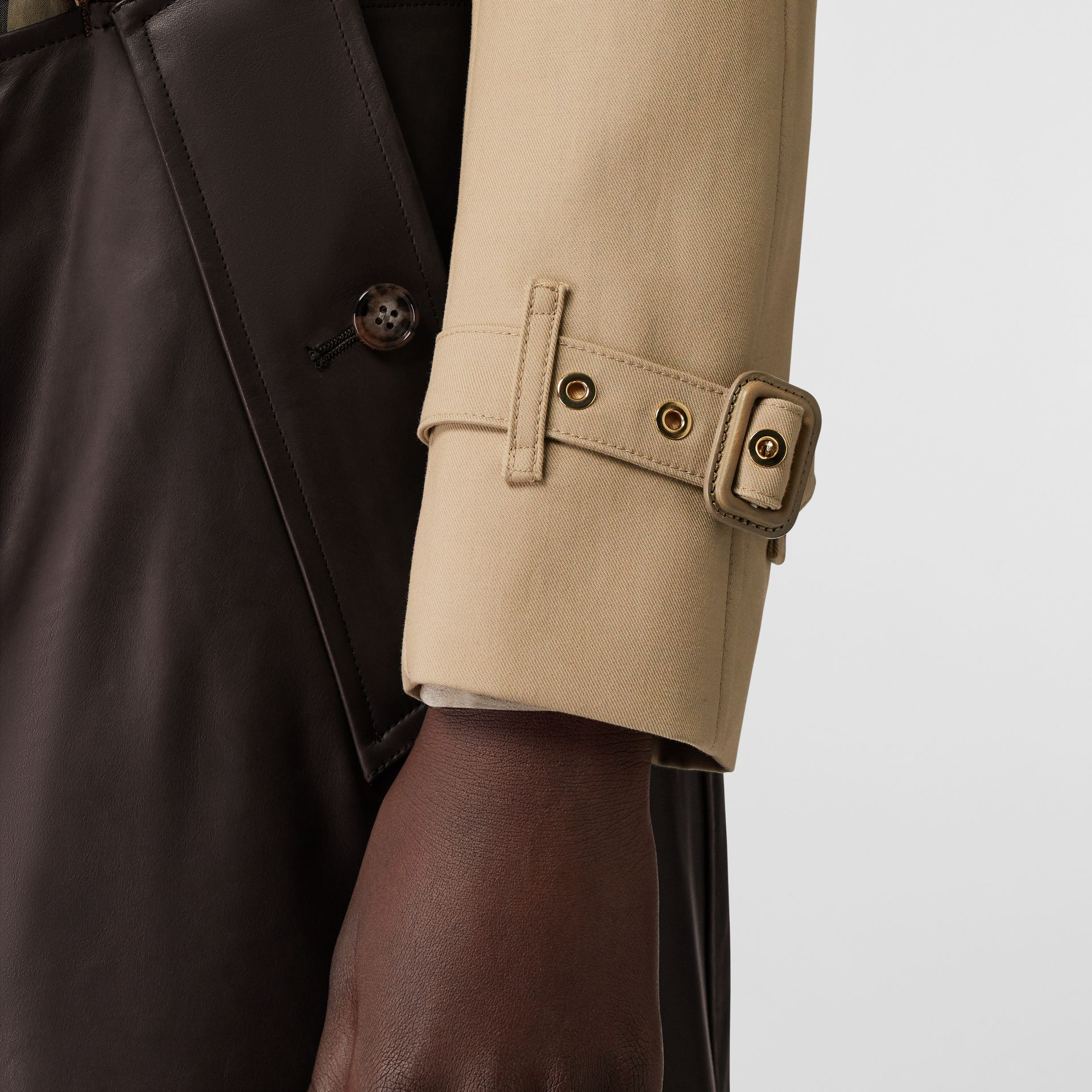 Deconstructed Cotton and Lambskin Trench Coat in Honey - Women | Burberry - gallery image 4
