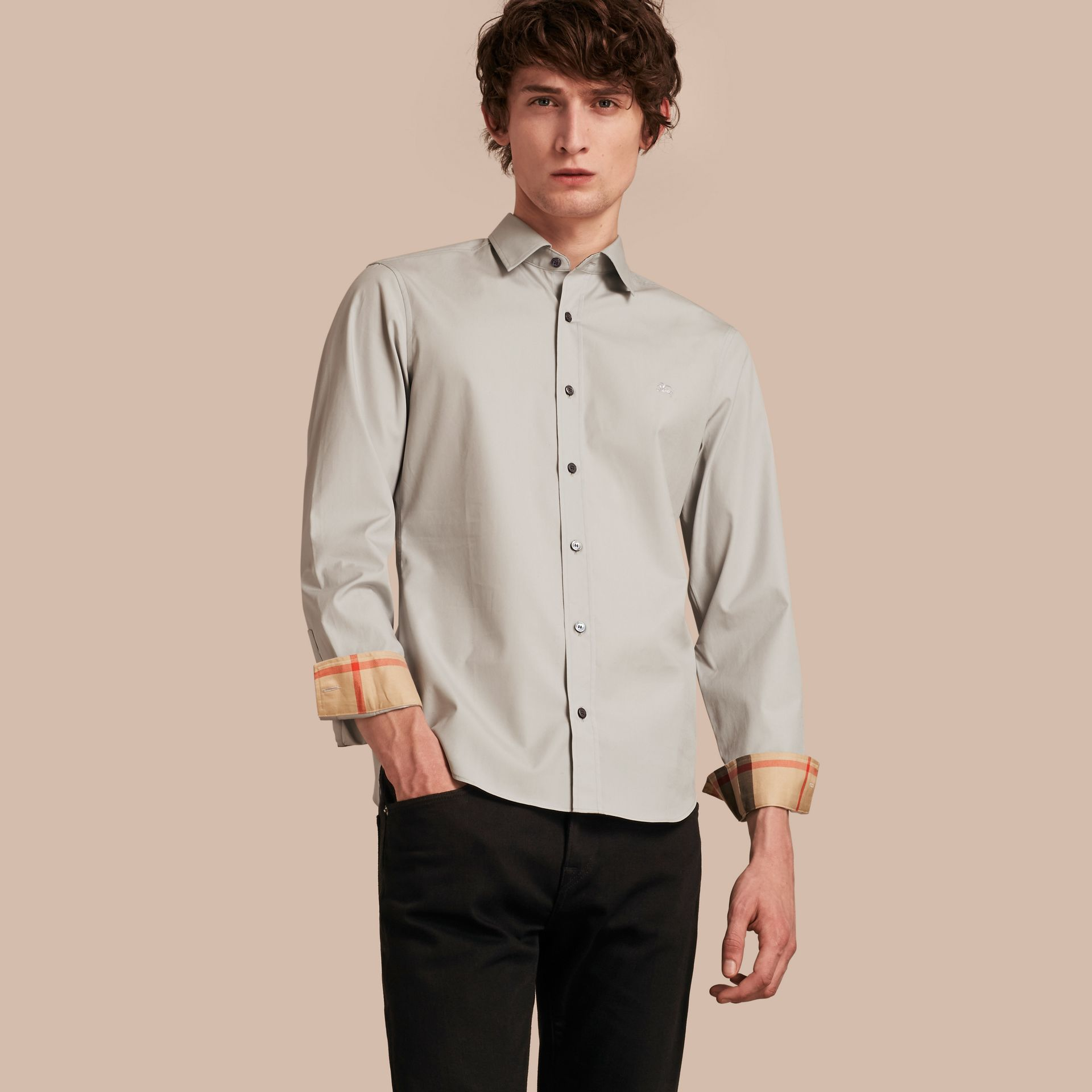 Check Detail Stretch Cotton Poplin Shirt Pale Grey - gallery image 1