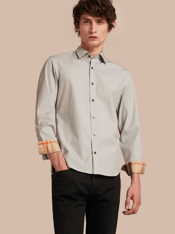 Check Detail Stretch Cotton Poplin Shirt in Pale Grey