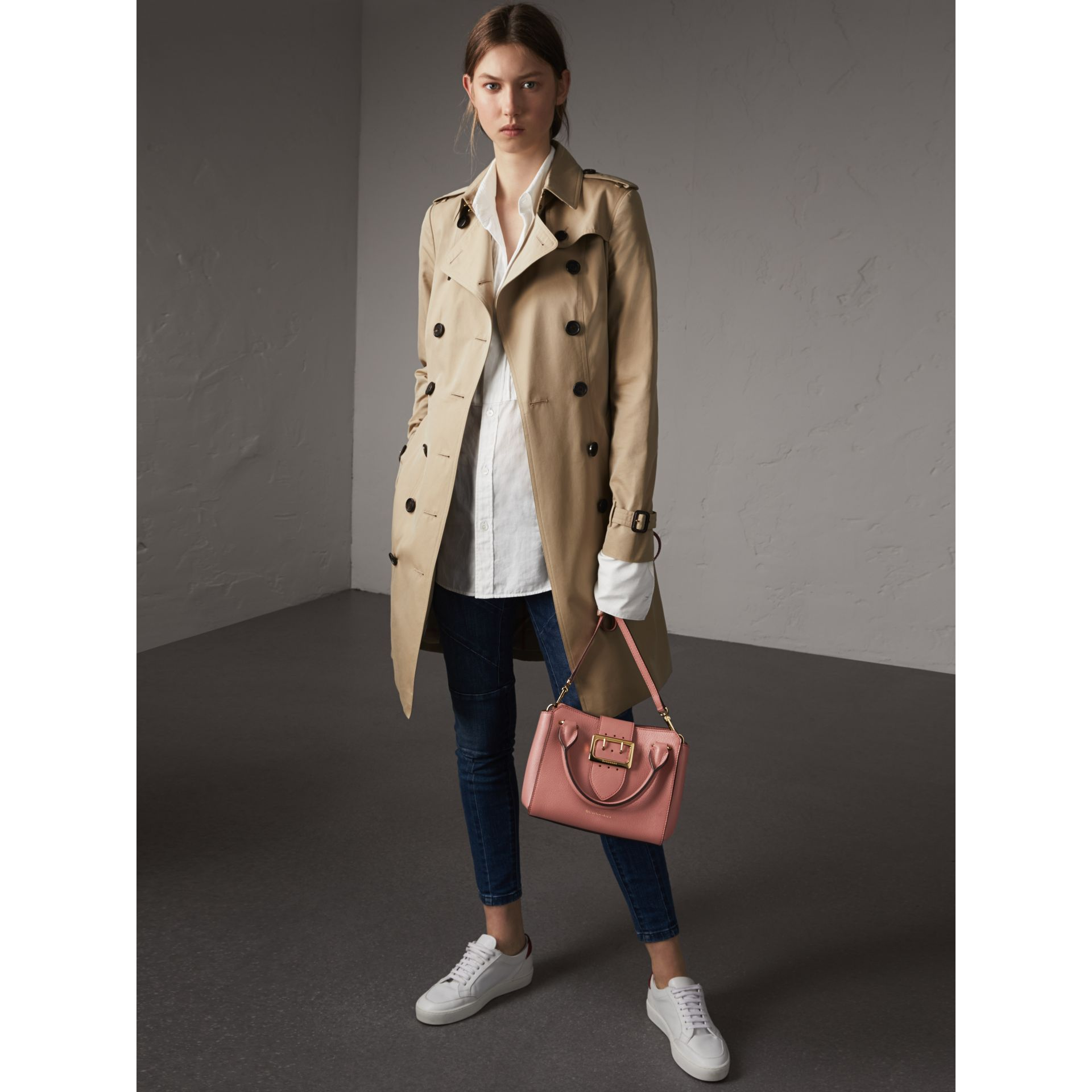 The Small Buckle Tote in Grainy Leather in Dusty Pink - gallery image 3