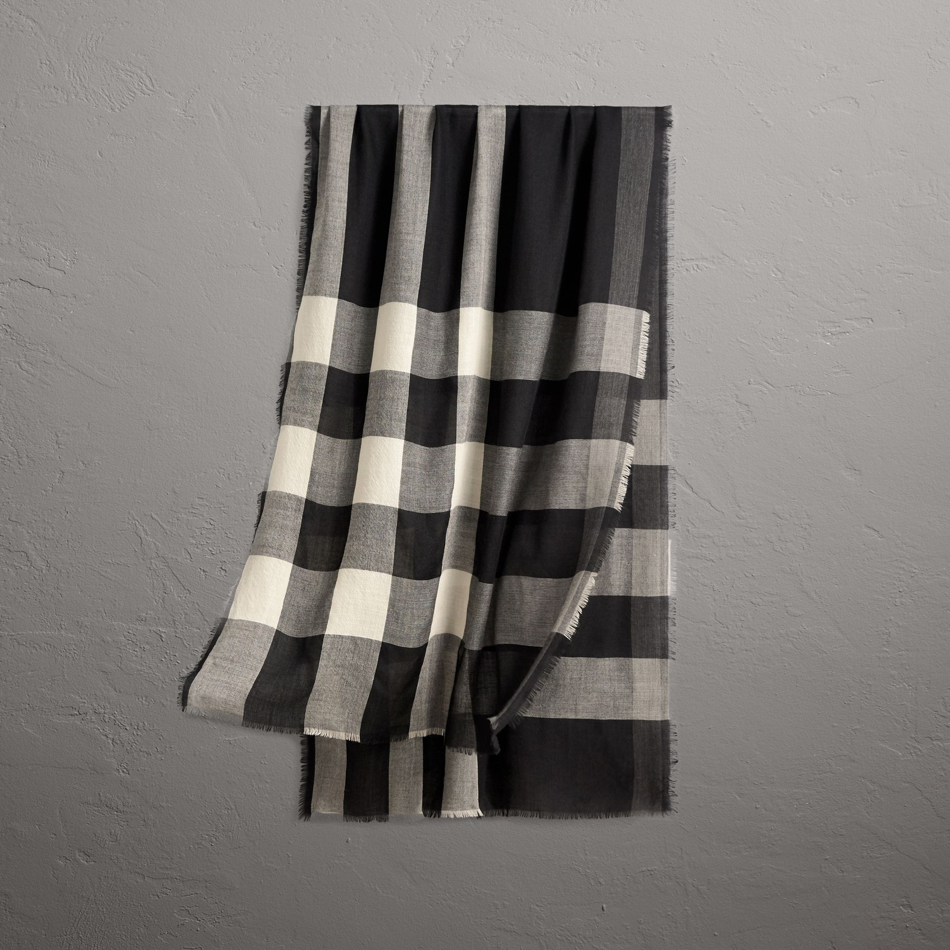 Lightweight Check Cashmere Scarf in Black | Burberry United Kingdom - gallery image 0