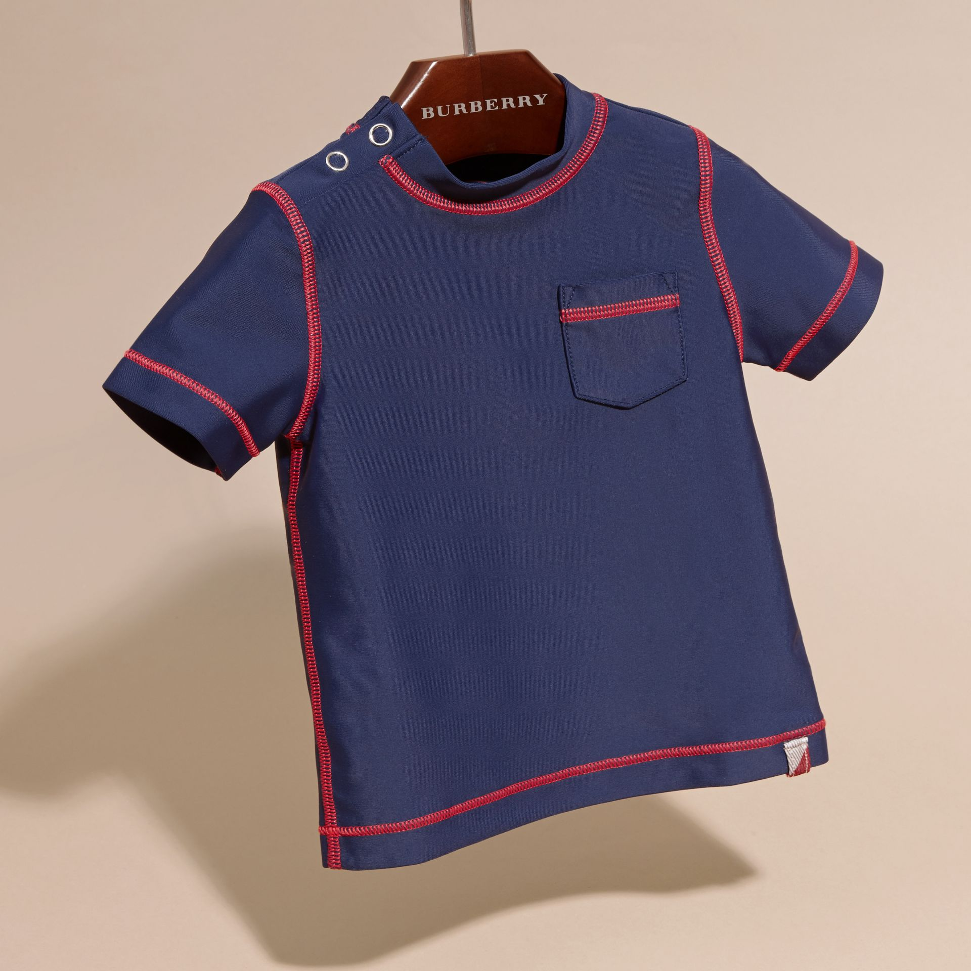 Contrast Topstitch Swim T-shirt in Navy | Burberry - gallery image 3