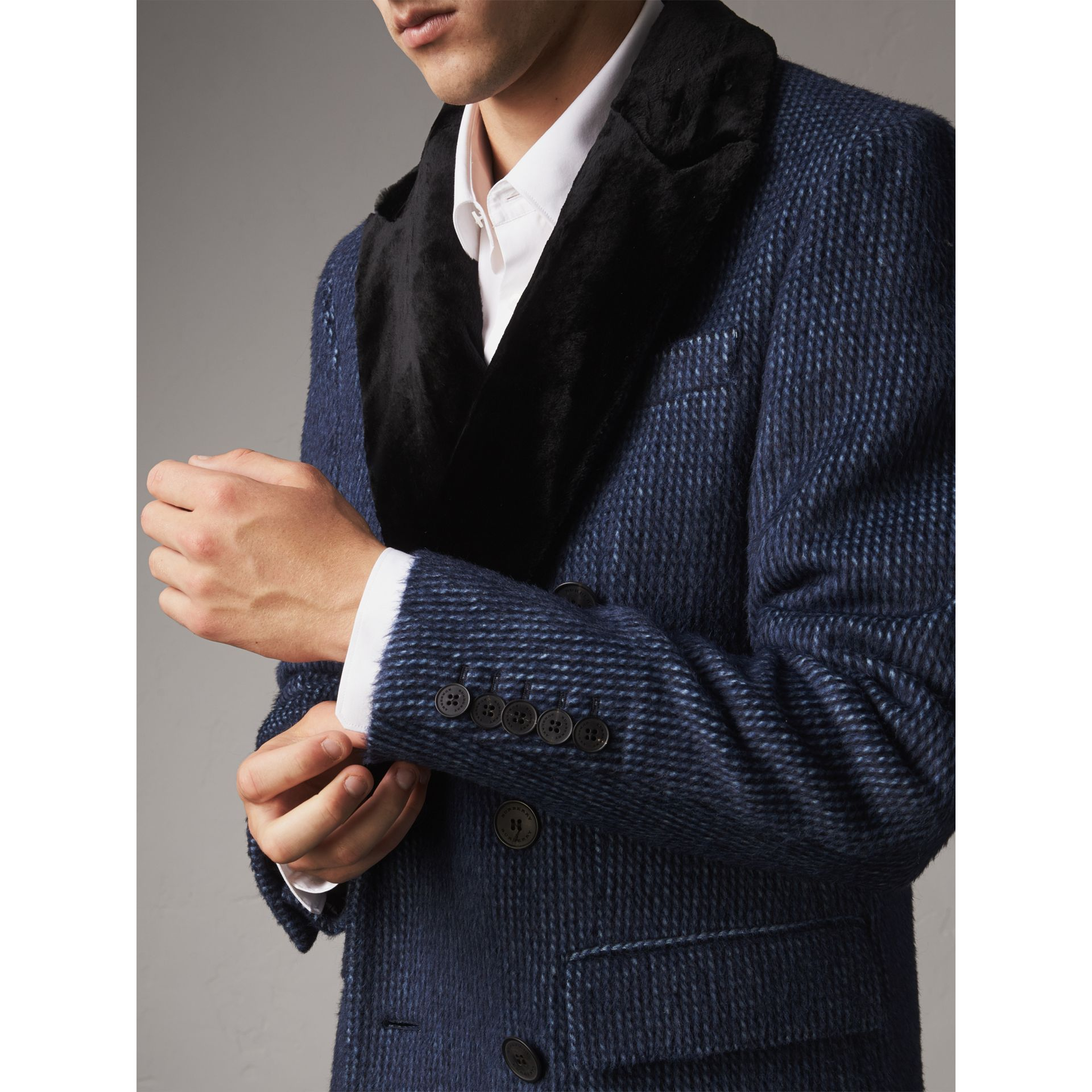 Detachable Fur Collar Alpaca Wool Double-breasted Coat in Pale Sapphire - Men | Burberry - gallery image 5