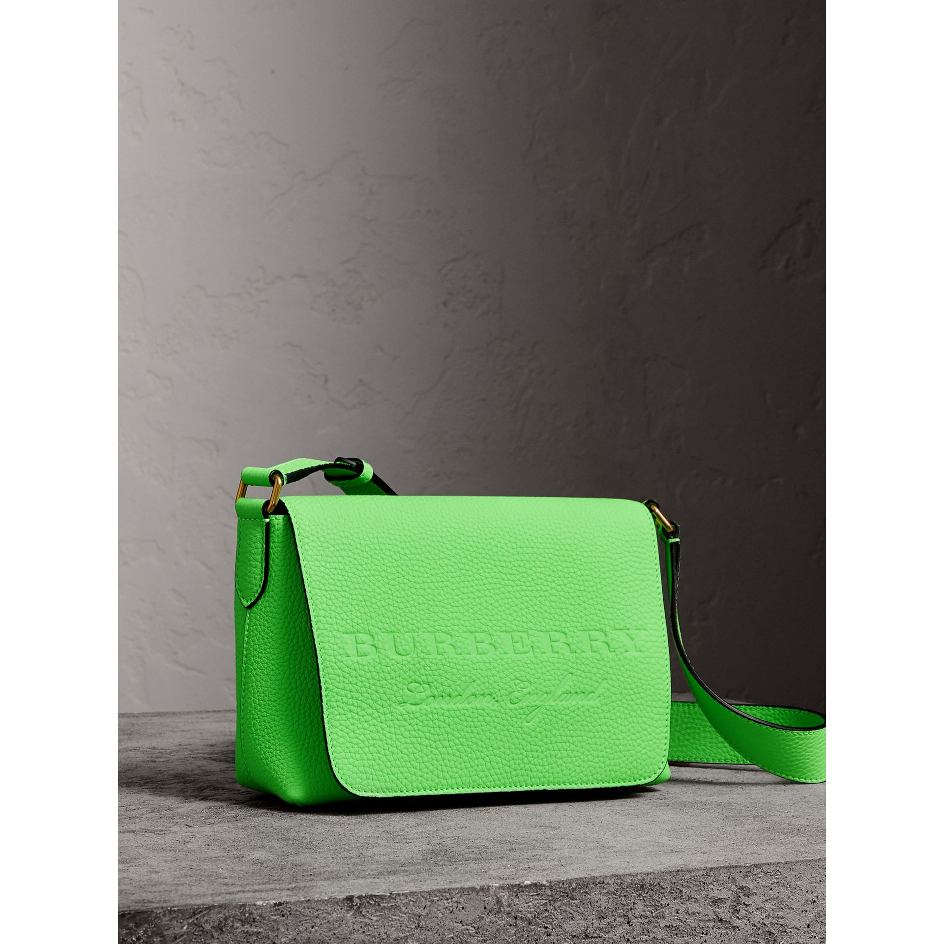 Small Embossed Neon Leather Messenger Bag in Green | Burberry United Kingdom - gallery image 8