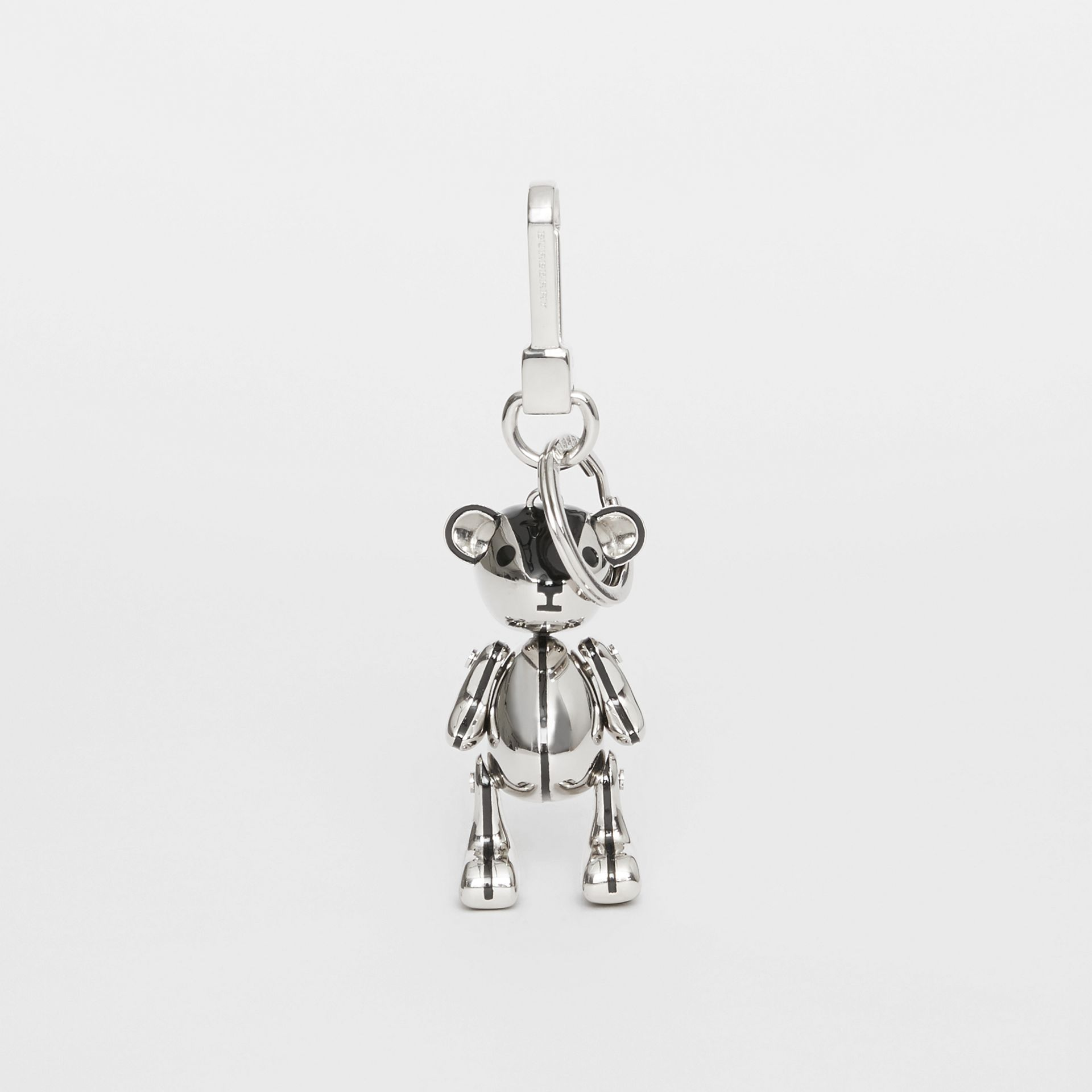 Palladium-plated Thomas Bear Charm in Black/silver | Burberry - gallery image 2