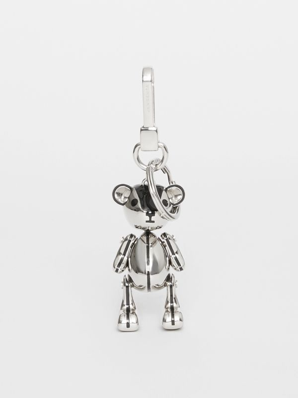 Palladium-plated Thomas Bear Charm in Black/silver | Burberry - cell image 2